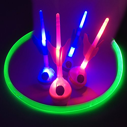 GlowCity PREMIUM Light Up LED Lawn Dart Game - Battery Powered, Uses Fiber Optic Target Rings by GlowCity