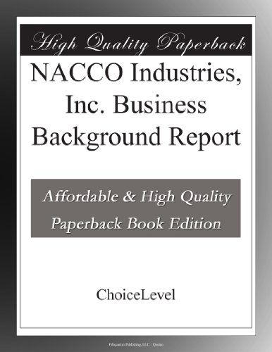 Nacco Industries  Inc  Business Background Report