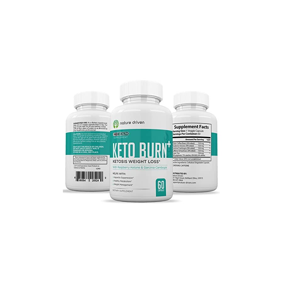 Keto Burn Weight Loss Supplements Improve Metabolism Boost Energy Levels All Natural Ingredients 60 Caplets Per Bottle One Month Supply Nature Driven