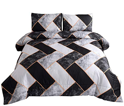 """Meeting Story Marble Geometry Pattern Bedding Set,Black Grey Abstract for Man Woman Comforter Sets,Queen Size with 2 Pillow Cases (Black-Grey-Rectangle) - Brushed Microfiber,soft,comfy,durable and lightweight. Size Information:1*Comforter 90""""x90""""(228cmx228cm) 2*Pillow Cases 20""""x26""""(51cmx70cm) Marble Geometry Pattern Bedding Set,Black Grey Abstract for Man Woman Comforter Sets,Easy to care.Super Warm and Soft. - comforter-sets, bedroom-sheets-comforters, bedroom - 51OyrNYVaNL -"""
