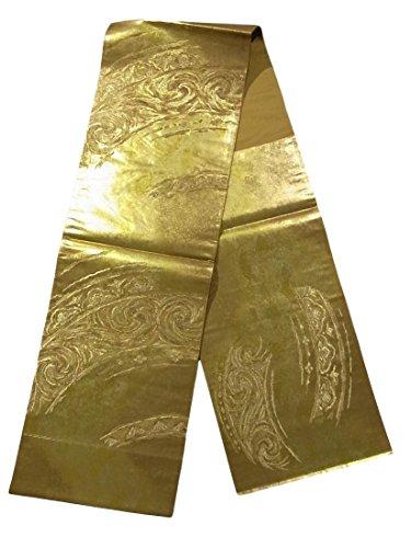 拮抗デモンストレーション休憩リサイクル 袋帯 渦巻き模様 金地 正絹