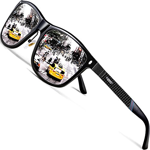 (ATTCL Men's Driving Polarized Sunglasses Al-Mg Metal Frame Ultra Light 7001 Silver)