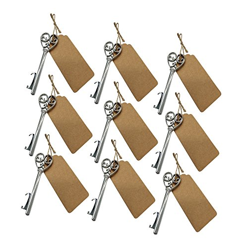 [Wedding Favors for Guests Vintage Heart Bottle Openers with Escort Card Tag and Twine Party Favors Party Decoration (Silver-50PCS)] (Heart Shaped Bottle)