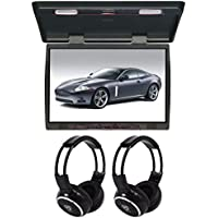 TView T206IR 20 Slim Flip Down Car/Truck Video Monitor + 2 Wireless Headsets