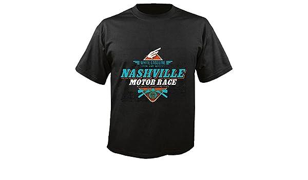 T-Shirt Camiseta Remera Blanco Gasolina Nashville Motor Race Camisa Motorista de la Motocicleta Motocicleta del Interruptor del cráneo gótico Club de la ...