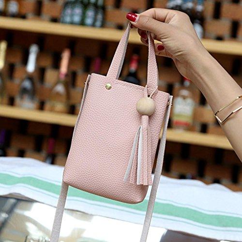 Bolso Bandolera Pequeña Bolsos De Hombro De Piel Baratos Para Mujer C Por ESAILQ Rosado