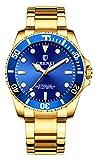 Men Rotatable Bezel Blue Dial Luminous Watch Gold Stainless Steel Band Waterproof Analog Quartz Watches (Blue)