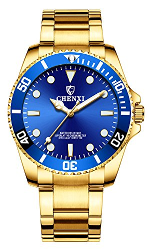 Men Rotatable Bezel Blue Dial Luminous Watch Gold Stainless Steel Band Waterproof Analog Quartz Watches (Blue)