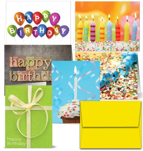 It's Your Birthday - 36 Birthday Cards- 6 Designs - Blank Cards - Yellow Envelopes Included