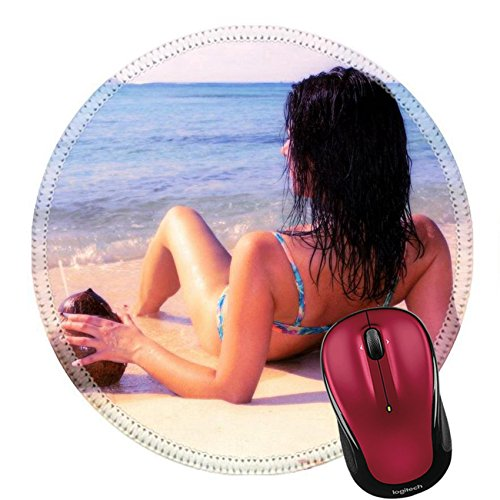 Liili Round Mouse Pad Natural Rubber Mousepad Woman sipping cocktail on the sandy tropical beach Photo - Bikini Stare