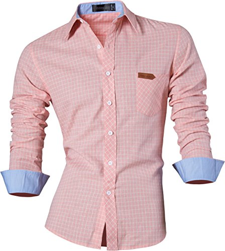 jeansian Men's Long Sleeves Slim Dress Shirt 8615 LightPink S