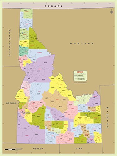 "Idaho County with Zip Code Map (36"" W x 48"" H)"