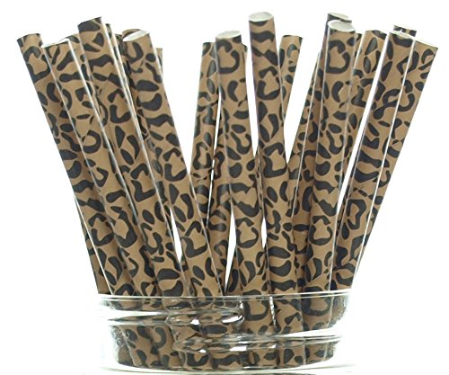 Cheetah Print Straws (25 Pack) - Cheetah Paw Pattern Drinking Straws, Cheetah Party Supplies, Big Cat Animal Spot Fabric Paper Straws