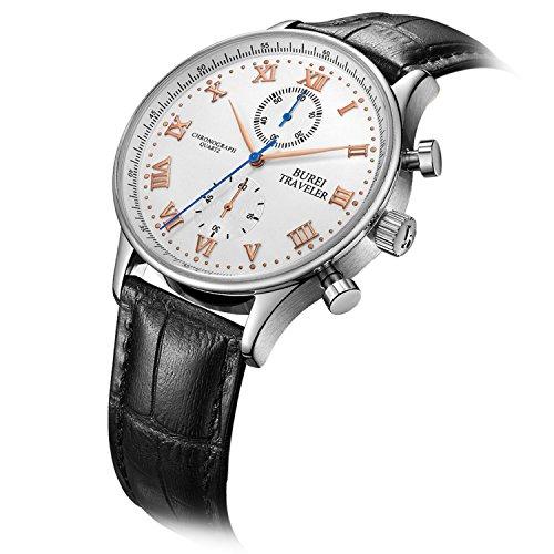 BUREI-Casual-Wrist-Dress-Chronograph-Watch-Roman-Numeral-Analog-Quartz-Stopwatch-with-Black-Leather-Band
