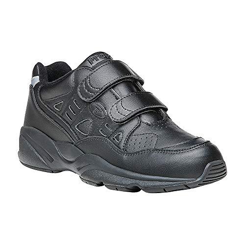 Propet Women's Stability Walker Strap Sneakers, Black Leather, Polyurethane, EVA, Rubber, 8 M
