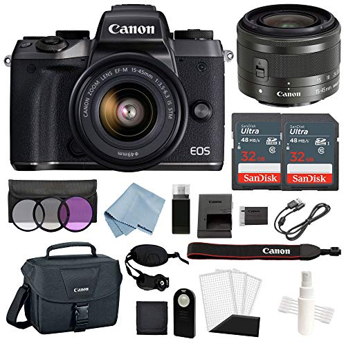 Canon EOS M5 Digital Camera (Black) with EF-M 15-45mm f/3.5-6.3 is STM Lens + Advanced Accessory Bundle - Includes to Get Started