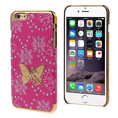TOOPOOT(TM) Bling Leather Butterfly Hard Skin Case Cover For iPhone 6 Plus 5.5inch (Hot Pink)