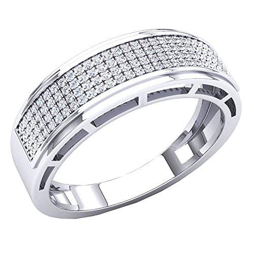 0.30 Carat (Ctw) 10K White Gold Round White Diamond Men's Hip Hop Wedding Band 1/3 CT (Size 9) by DazzlingRock Collection