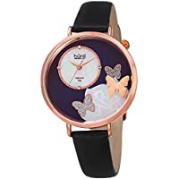 Burgi Skinny Black Leather Women's Watch with Crystal Butterflies, Genuine Diamond Markers and Flower Designs on Mother of Pearl Dial – Classic Round Analog Quartz – BUR158BKR