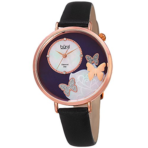 Burgi Women's Rose-Tone Case with Genuine Diamond Accented Butterfly Design Mother-of-Pearl Dial on Black Leather Strap Watch - Leather Dial Pearl Black