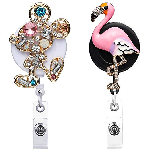 Artscope 2 Pack Retractable Badge Reel Holder, 24 inch Retractable Cord Nurse Badge Clip, ID Name Badge Holder with Belt Clip (Crytal Mouse + Flamingo) (Flamingo Clip)