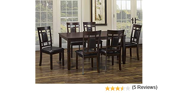 Table /& 6 Chairs Viola 7PCS Solid Wood Dining Table Set