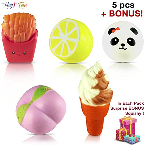 (+1 BONUS) JUMBO SQUISHIES 5pcs |Pack of Kawaii Super Slow Rising | Ice Cream Cone | Peach | Lemon | French Fries | Panda | Cute BONUS Emoji (Random) | Hand Wrist Soft Toy Set by (4in 1 Fun Pack)