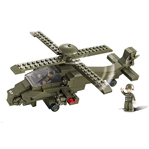 Helicopter Block - Sluban M38-0298 Military Blocks Army Bricks Toy - Hind Helicopter
