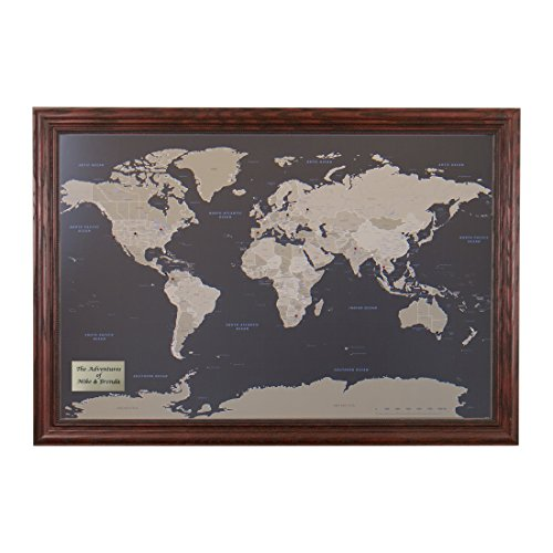 Push Pin Travel Maps Personalized Earth Toned World with Solid Wood Cherry Frame and Pins - 27.5 inches x 39.5 inches