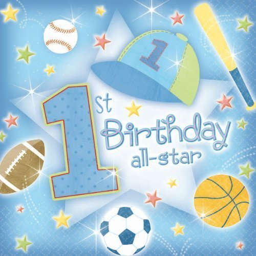 4 Each: First Birthday All Star Beverage Napkins Value (Pack of 36)