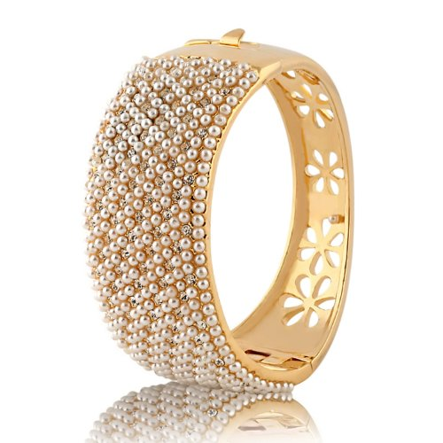 Yoursfs 14K Yellow Gold Plated Use Austrian Crystal Beaded Pearl Hollow Flower Charms Bangle Bracelet