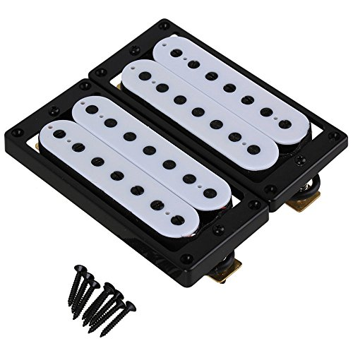 Yibuy White Metal & Plastic 7 String Electric Guitar Humbucker Pickup Double Coil Pickup Set of 2