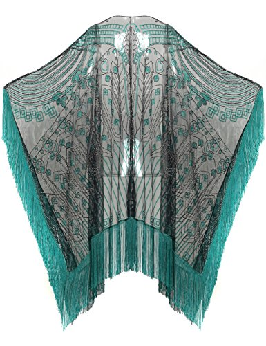 BABEYOND 1920s Sequin Beaded Shawl Wraps Fringed Evening Cape Scarf for Wedding (Green)