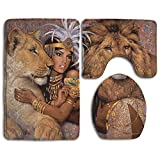 DING Animals Lion Girls Soft Comfort Flannel Bathroom Mats,Anti-Skid Absorbent Toilet Seat Cover Bath Mat Lid Cover,3pcs/Set Rugs