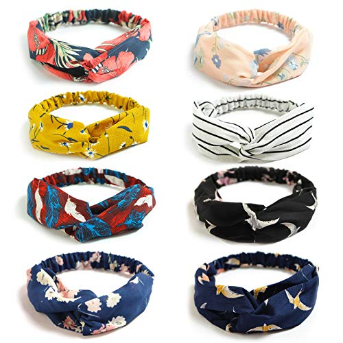 DRESHOW 8 Pack Women's Headbands Headwraps Hair Bands Bows Accessories ()