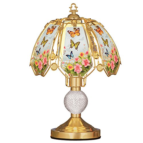 Floral Butterflies Glass Shade 3-Light Touch Lamp - 16 (Butterfly Table Sconce)