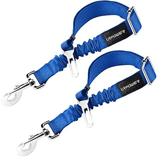 URPOWER Upgraded Dog Seat Belt 2 Pack Dog Car Seatbelts Adjustable Pet Seat Belt for Vehicle Nylon Pet Safety Seat Belts Heavy Duty & Elastic & Durable Car Seat Belt for Dogs, Cats and Pets(Blue)