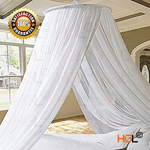 HGL Elegant White Round Bed Canopy Mosquito Net Resort Stylish Princess Bed Canopy Bedroom Curtain Cover Gauze Repeller Princess Mesh 2 Openings (Kid Canopy Bed compare prices)