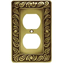 Franklin Brass 64045 Paisley Single Duplex Outlet Wall Plate / Switch Plate / Cover, Tumbled Antique Brass
