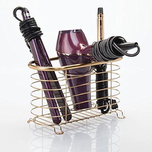 Bronzo Porta phon Multiuso a 3 Scomparti Piastra e spazzole MetroDecor mDesign Porta asciugacapelli da Appendere Comodo cestello portaoggetti Bagno per phon