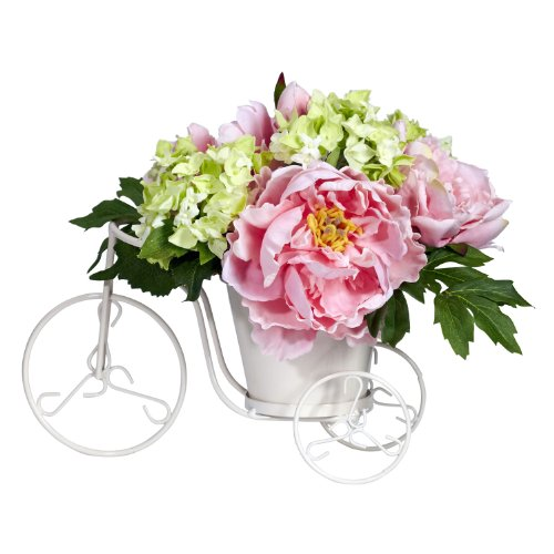 Nearly-Natural-4807-Peony-and-Hydrangea-Tricycle-Silk-Flower-Arrangement-PinkGreen