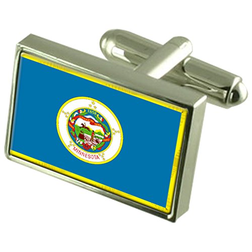 Minnesota Sterling Silver Flag Cufflinks by Select Gifts