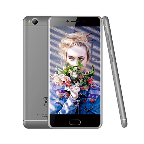 KEN XIN DA V7 4G LTE Smartphone Unlocked 5.0 Inch 16GB Memory Dual SIM Quad Core 1.5 GHz MTK 6735 13MP Camera GSM Cellphone (Grey)