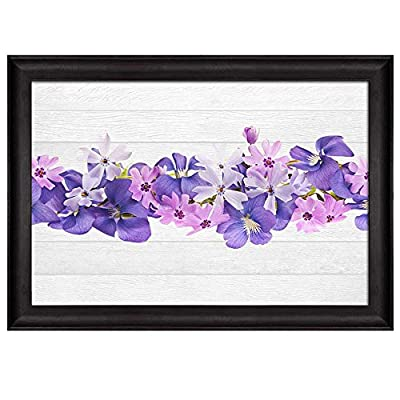Row of Purple Flowers Over White Wooden Panels Nature Framed Art, it is good, Charming Piece