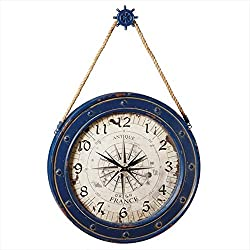 36 Antique-Style Cobalt Blue Compass Wall Clock with Ship Wheel Hanger