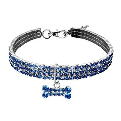 Bone Pet Necklace Charm - Sunward Couture Designer Fancy Crystal Pet Cat Dog Necklace Jewelry,Adjustable Bling Rhinestones Big Bone Charm for Pets Cats Small Dogs Female Puppy (Blue, Length:11.8