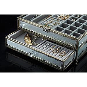 PuTwo Jewelry Boxes 22 Sections Metal Glass Jewelry Organizer Velvet Jewelry Tray Jewelry Box