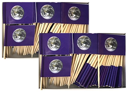 Two Boxes Earth (NASA World Photograph) Toothpick Flags, 200 Small Mini Earth Day Flag Cupcake Toothpicks or Cocktail Picks ()