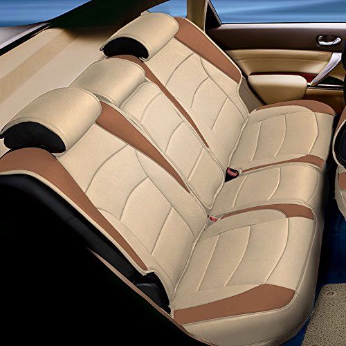 (FH GROUP PU205013 Ultra Comfort Leatherette Bench Seat Cushion , Beige / Tan Color- Fit Most Car, Truck, Suv, or)