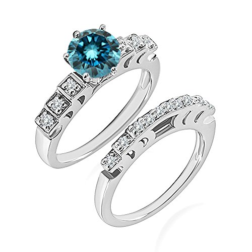 0.99 Carat Blue I2-I3 Diamond Engagement Wedding Anniversary Halo Bridal Ring Set 14K White Gold ()